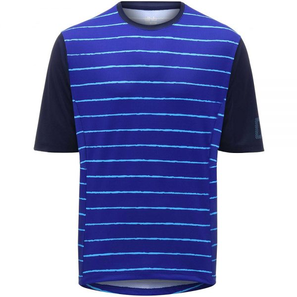 dhb MTB Trail Short Sleeve Jersey - Stripe - L - Blue Stripe, Blue Stripe