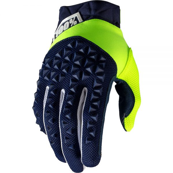100% Airmatic Gloves - L - Navy-Fluo Yellow, Navy-Fluo Yellow