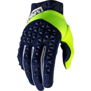 100% Airmatic Gloves - S - Navy-Fluo Yellow, Navy-Fluo Yellow