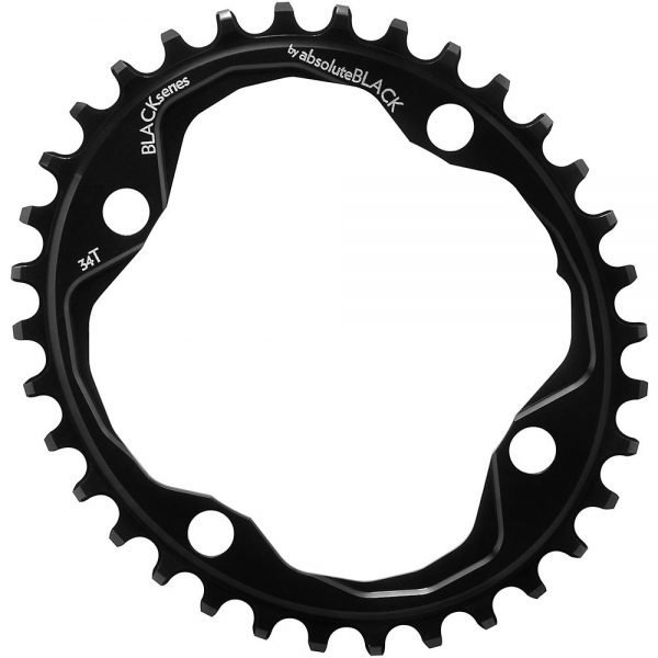 BLACK by Absoluteblack Narrow Wide Oval MTB Single Chainring - 4-Bolt, Black