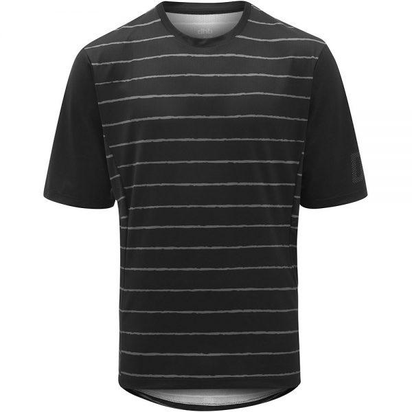 dhb MTB Trail Short Sleeve Jersey - Stripe - L - Black-Grey Stripe, Black-Grey Stripe
