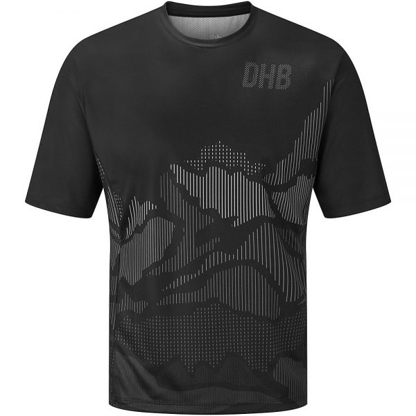 dhb MTB Short Sleeve Trail Jersey - Line - L - Black-Grey, Black-Grey