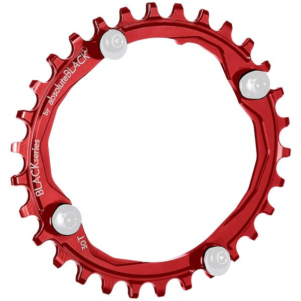 BLACK by Absoluteblack Narrow Wide Oval MTB Single Chainring - 4-Bolt - Red, Red