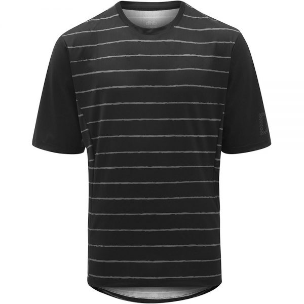 dhb MTB Trail Short Sleeve Jersey - Stripe - M - Black-Grey Stripe, Black-Grey Stripe