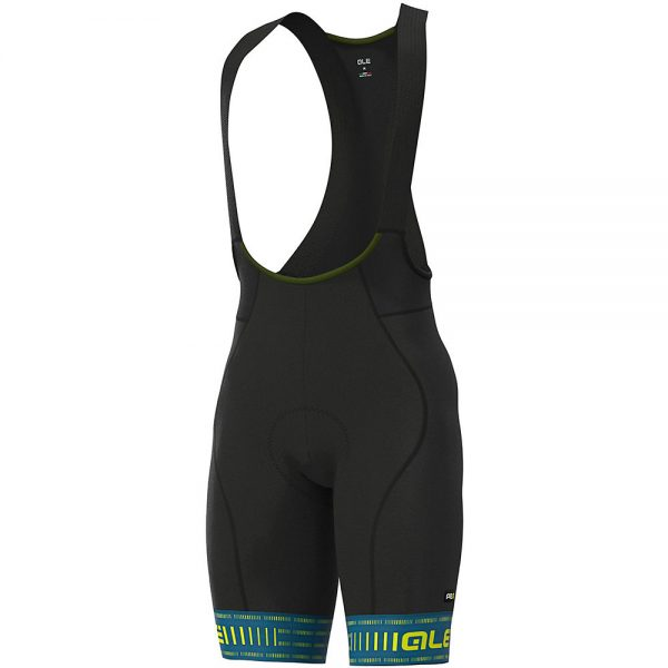 Alé Graphics PRR Green Road Bib Shorts - L - Azores Blue-Fluo Yellow, Azores Blue-Fluo Yellow