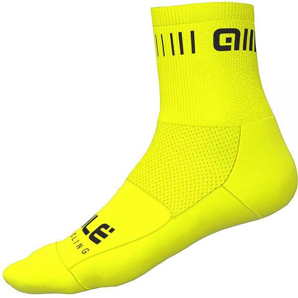 Alé Strada Qskin Socks - L - Fluro Yellow-Black, Fluro Yellow-Black