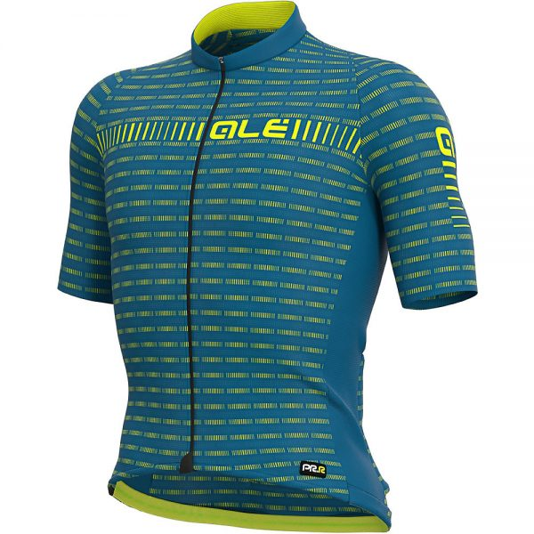 Alé Graphics PRR Green Road Jersey - L - Azores Blue-Fluo Yellow, Azores Blue-Fluo Yellow