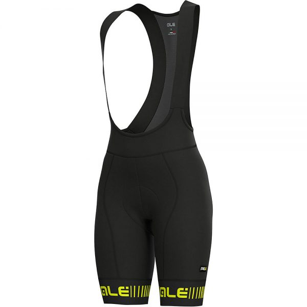 Alé Women's PRR Strada Bib Shorts - XS - Black-Fluro Yellow, Black-Fluro Yellow