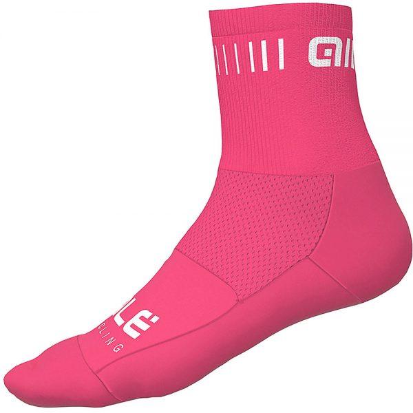 Alé Strada Qskin Socks - L - Fluro Pink-White, Fluro Pink-White