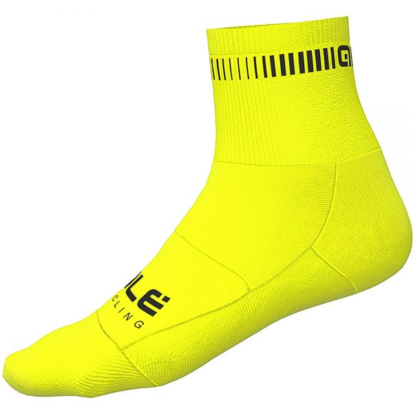 Alé Logo Qskin Socks - M - Fluro Yellow-Black, Fluro Yellow-Black