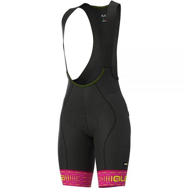 Alé Women's Graphics Green Road Bib Shorts - M - Cyclamen-Fluro Yellow, Cyclamen-Fluro Yellow