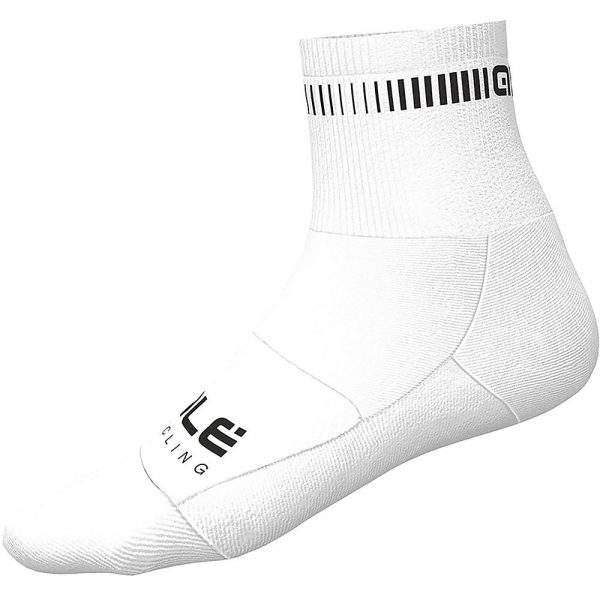 Alé Logo Qskin Socks - M - White-Black, White-Black