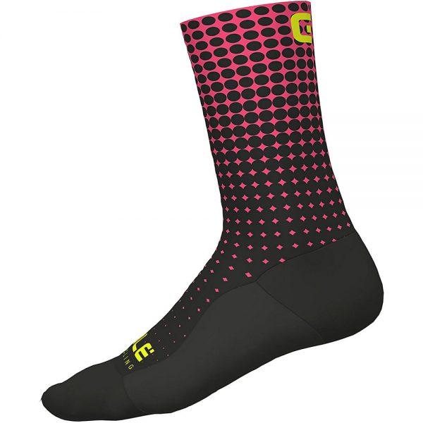 Alé Dots Socks - M - Black - Fluro Pink, Black - Fluro Pink