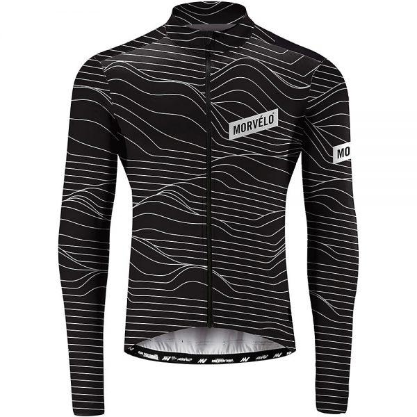 Morvelo Swell Long Sleeve Jersey - L - Black-White, Black-White