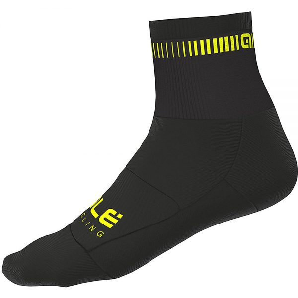 Alé Logo Qskin Socks - M - Black-Fluro Yellow, Black-Fluro Yellow