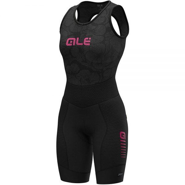 Alé Women's R-EV1 Future Integrato BibShorts - L - Black-Fluro Pink, Black-Fluro Pink