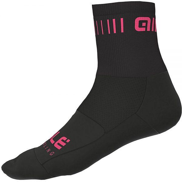 Alé Strada Qskin Socks - S - Black-Fluro Pink, Black-Fluro Pink