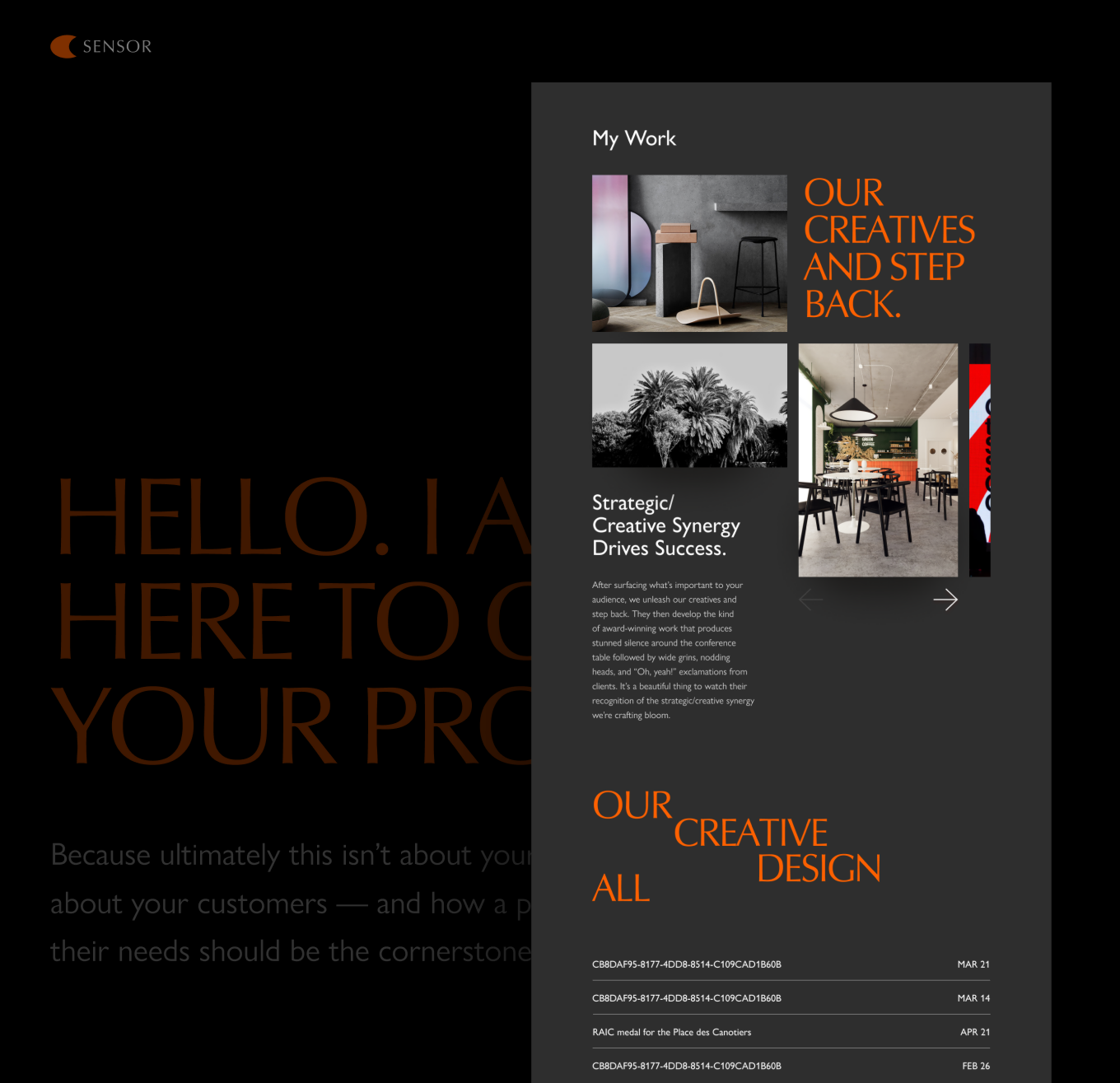 Agency portfolio landing page template. Dark style, unusual layout for photo gallery.