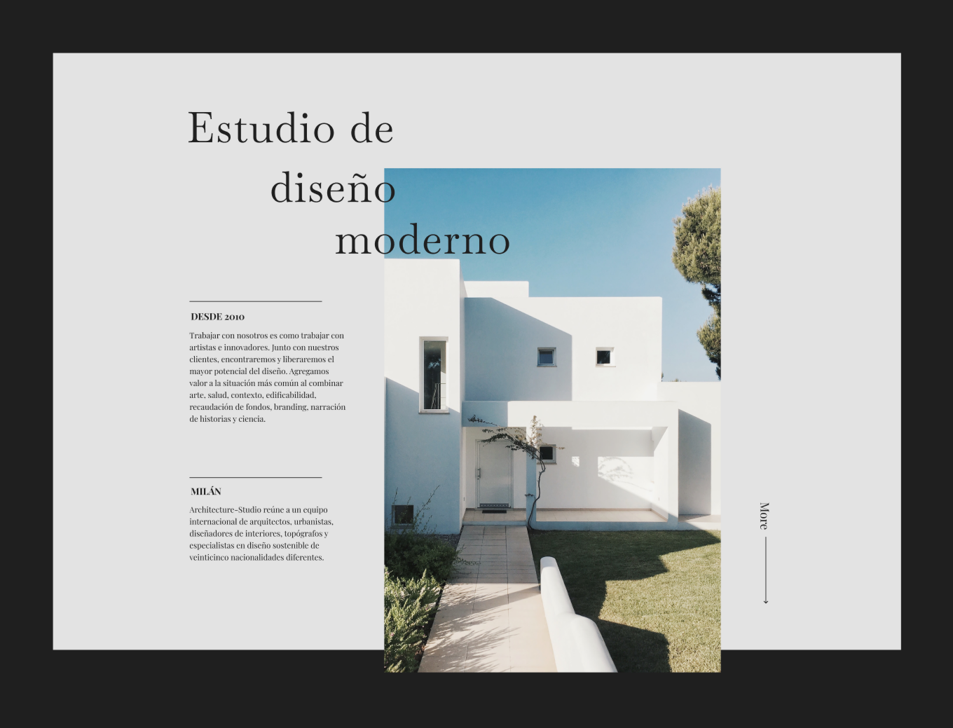 Architecture bureau, interior design, portfolio. Сreative template for Figma