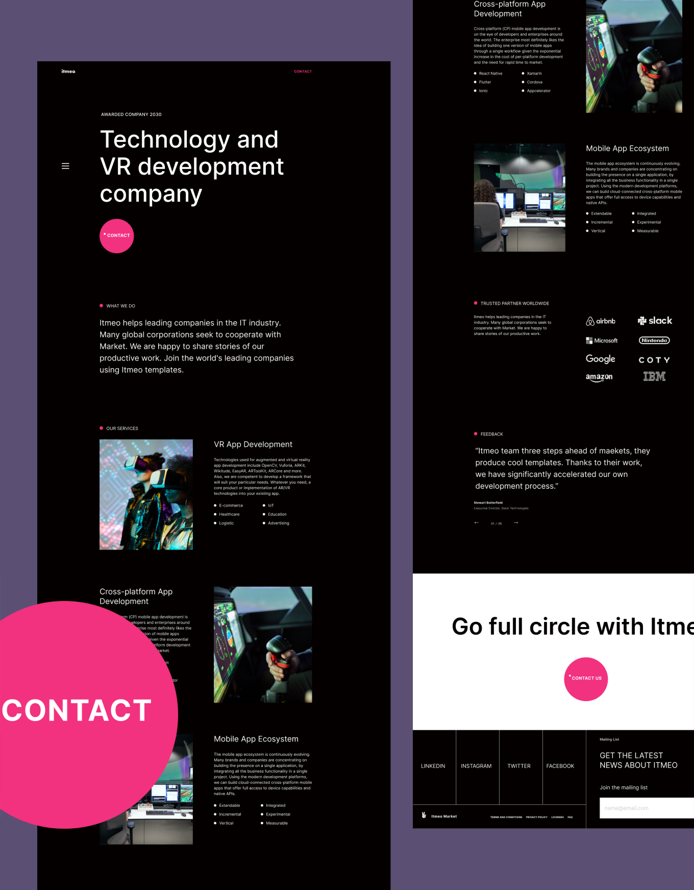 Geometric dark theme template for technology company