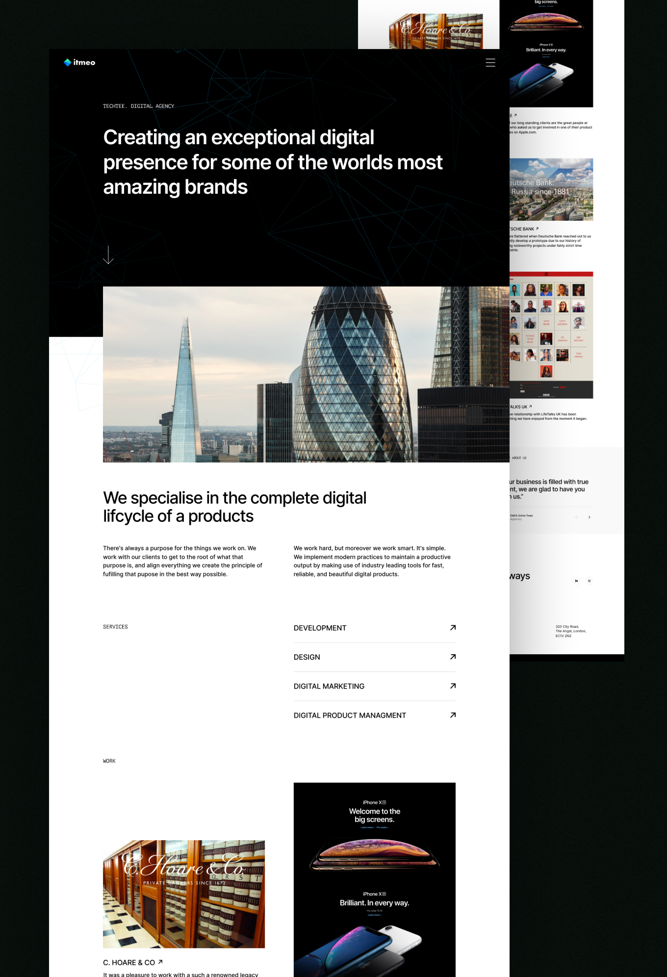 Landing page portfolio for a digital agency