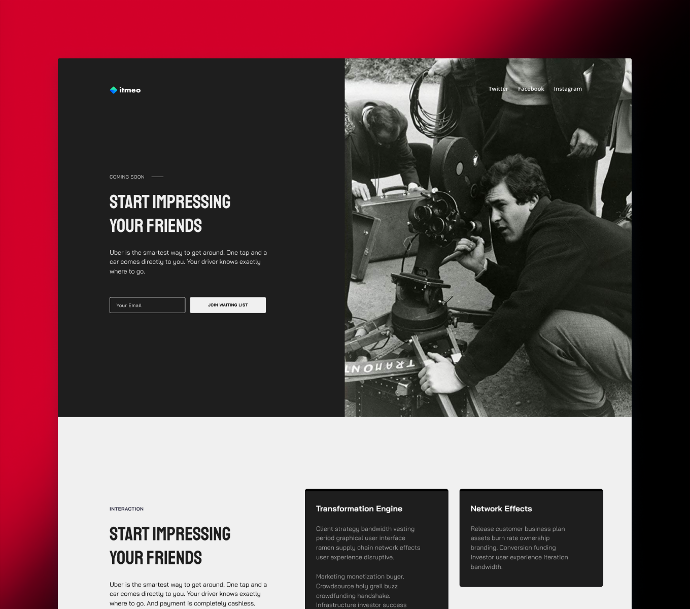 Cinema agency landing black & white. Production studio website