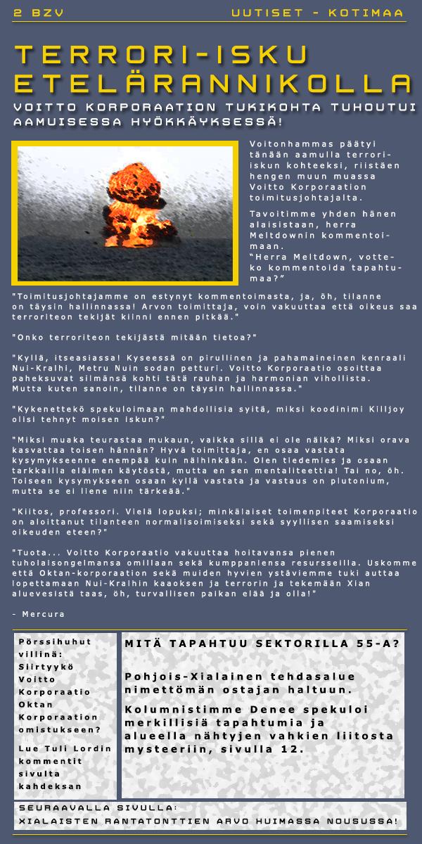 VOITTO KORPORAATION TUKIKOHTA TUHOUTUNUT TERRORI-ISKUSSA