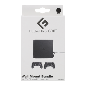 Floating Grip Playstation 4 Slim and Controller Wall Mount - Bundle (Black)