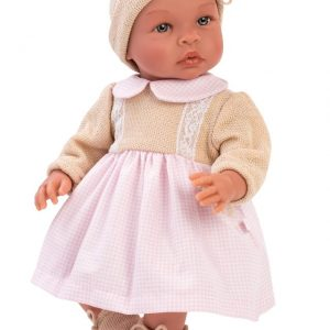 Asi - Nukke vaaleanpunainen ja beige mekko, 46 cm