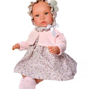 Asi dolls - Leonora doll in rose dress with little flowers, 46 cm