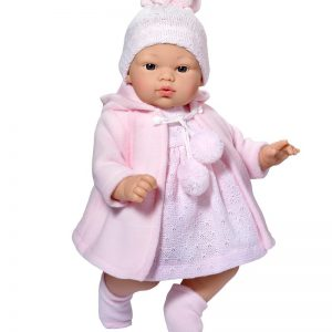 Asi dolls - Koke doll in grey and rose coat, 36 cm