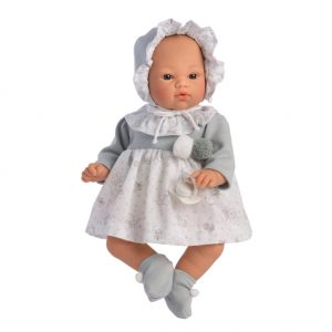 Asi dolls - Koke doll in grey and white dress, 36 cm