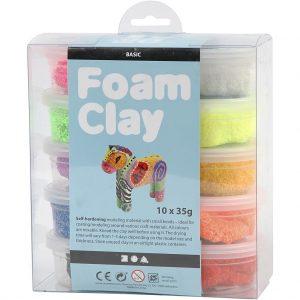 Foam Clay - helmimassa, 10x35 g, värilajitelma