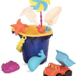 B. Toys - Sands Ahoy – Beach Playset - Medium Bucket Set, Navy (1330)
