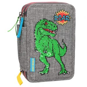 Dino World - Sequin Pattern Triple Pencil Case (410301)