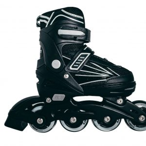 Outsiders - Adjustable Kids Inline Rollerblades - Black/Grey (size: 31-34)