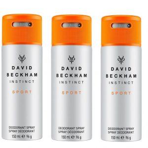 David Beckham - 3x Instinct Sport Deodorant Spray 150 ml