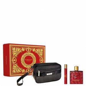 Versace - Eros Flame EDP 100 ml + EDP 10 ml + Pouch - Giftset