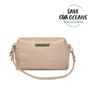 "Gillian Jones - ""Natascha"" Makeup Purse in Beige w. Logo"