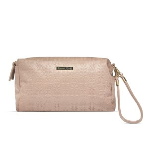 "Gillian Jones - ""Natascha"" Toilettry Bag in Beige w. Logo"