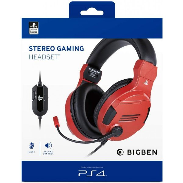 Playstation 4 HW Bigben Stereo Gaming Headset v3 (Red)