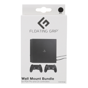 Floating Grip Playstation 4 Pro and Controller Wall Mount - Bundle (Black)
