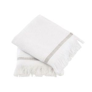 Meraki - Towel 50 x 100 cm 2 pack - White/Grey Stripe (Mkds03/357780003)