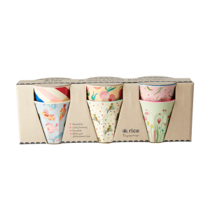 Rice - 6 Pcs Small Melamine Kids Cups - Choose Happy Print