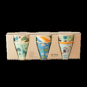 Rice - 6 Pcs Small Melamine Kids Cups - Dino Prints
