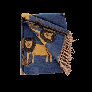 Rice - Blanket w. Lions - Dark Blue