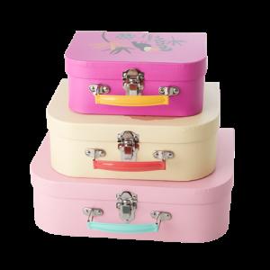 Rice - Cardboard Suitcase Set of 3 - Jungle Animals Print - Soft Pink & Creme