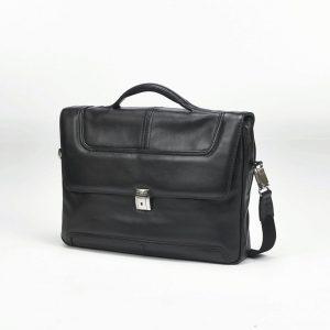 "Samsonite - Sidaho 15"" Portfolio Black Leather Computer Bag"