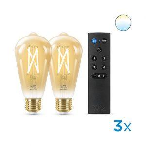 WiZ - Filament ST64 Amb 2PK + Remote - Smart Home
