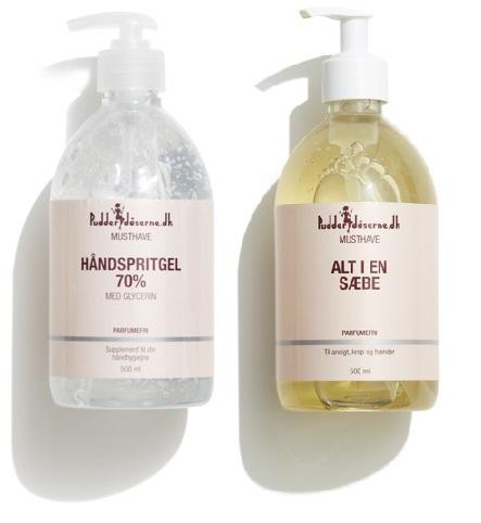 Pudderdåserne - Hand Sanitizer 70% 500 ml + All in One Soap 500 ml